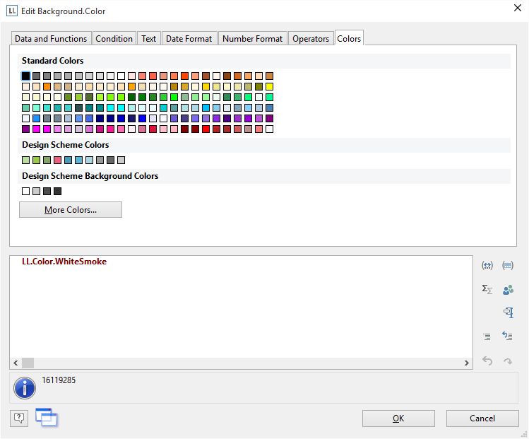 Enhanced color picker in new reporting tool version